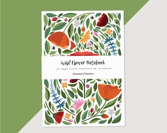 Botanical Wild Flower A5 illustrated notebook