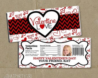 Valentine LOVE - Valentine's Day Party Favors Candy Bar Wrappers - DIY