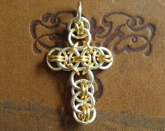 Simply Ringed Non Tarnish Silver and Gold Cross