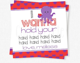 Octopus Valentine Tag, I Wanna Hold Your Hand Tag, Cookie Valentine Tag, Kids Valentine Tags, Personalized