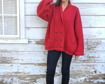 Vintage 60s cardigan,chunky,oversized,soft,70s sweater,dark red,slouchy,cozy,winter,wool blend,knitted,button up,made in USA,boho,warm,