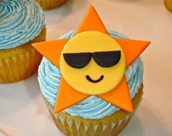 Sun wearing Sunglasses Edible Fondant Cupcake Topper Decoration - Perfect for Summers, Beach or Luau Parties