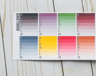 8 COLOR Weekly Habits Planner Stickers l Functional Stickers l Multicolor Stickers l Multicolor Functional l Summer Colors l