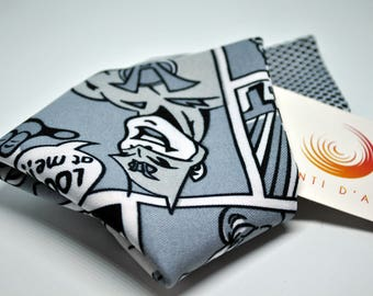 Pocket square for men made up black and white comics fabric.