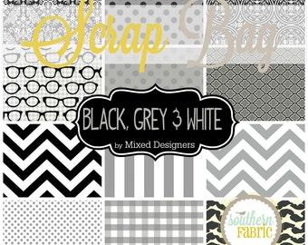 Grey, Black and White -  Scrap Bag Scraps-- Scrap Bag Quilt Fabric