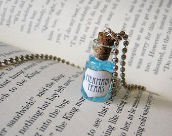 Mermaid Tears 1ml Glass Bottle Necklace Charm - Mermaid's Tears Cork Vial Pendant