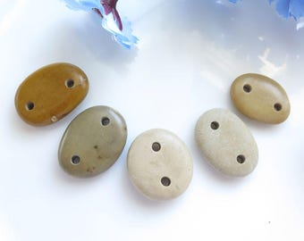 Double Drilled Beach Stone Connectors, Natural Stone Jewelry Supplies, Organic Natural Beads, Drilled Beach Pebbles, Pebbles set