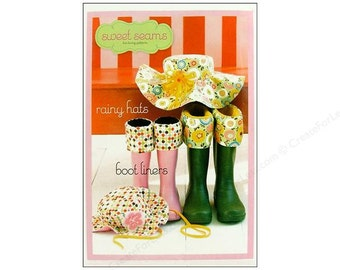 Sweet Seams - Rainy Hats and Boot Liners - Paper Sewing Pattern - Accessories for Girls