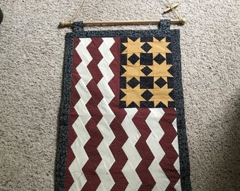 Hand made american flag hanging quilt like
