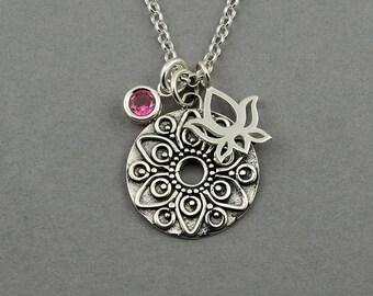 Mandala Necklace - 925 sterling silver mandala pendant, birthstone, charm necklace, yoga, gift, womens, 12 colors
