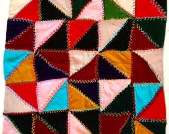 Vintage velvet fabric patchwork piece pillow top re purpose upholstery