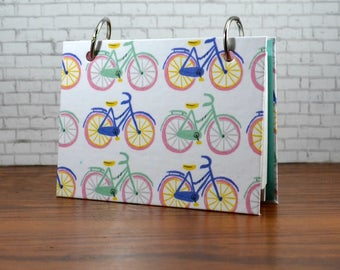 3 x 5 or 4 x 6 Pastel bicycle notebook for index cards, sturdy chipboard cover, holds recipe cards, writing journal with tab dividers