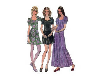 70s Empire Waist Dress pattern Mini Dress pattern vintage 34-25.5-36 granny puffy sleeve Maxi Dress pattern simplicity 9779