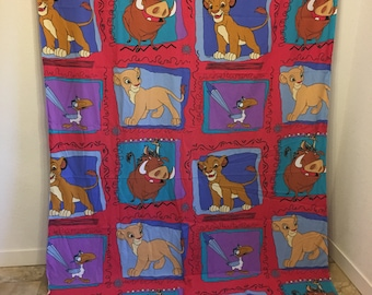 Vintage Bed Sheet, Disney The Lion King, Vintage Lion King, Simba, Timon, Pumbaa, Zazu, Nala