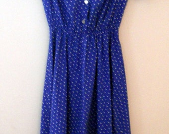 Hand Made Classic Blue Shirt Waist Dress with White Collar