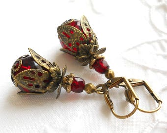 red victorian earrings red earrings red dangle earrings red and bronze chrystal red vintage style earrings red pink earrings