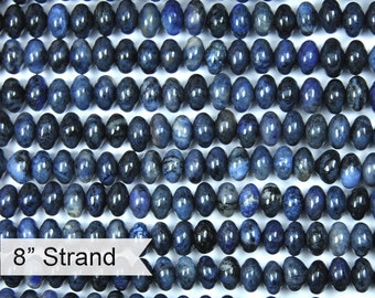 """Dakota Stones Dumortierite 6mm Rondelle Gemstones. 8"""" Strand. DMT6RL-8"""