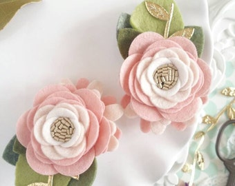 Rose Quartz Felt Flower Hair Clips  Rose Mini Felt Flower Crown. Felt Flower Pigtail Hair Clips. Toddler Flower Hair Clips. Hair Clips Baby.
