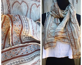 Vintage Neutral Tone Boho Filigree Pattern Printed Large Sheer Scarf 59 inches, Oversized Scarf, Printed Scarf, Pattern Scarf