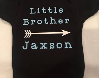 Little brother personalized creeper personalized t-shirt baby creeper toddler shirt