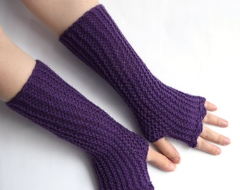 Purple fingerless mittens, vegan friendly office gloves, amethyst armwarmers from size XS to L