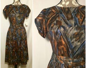 Vintage 1960s Deadstock Abstract Brush Stroke Dress // XS-S