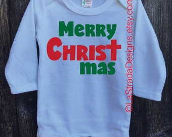 Merry ChrisTmas Bodysuit/Christian Outfit/Shortsleeve or Longsleeve available in white only/First Christmas/