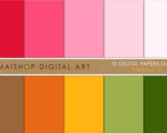 Solid Color Digital Paper 'Hibiscus' Instant Download Scrapbook Papers for Scrapbooking, Crafts, Backgrounds...