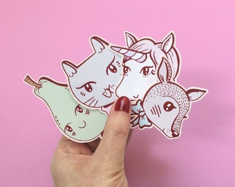 Set of cute pastel stickers | unicorn, cat with bow, deer and pear | pack of 4 matte vinyl stickers