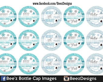 INSTANT DOWNLOAD- Merry & Bright- 1inch Bottlecap Images- 4x6 Digital Collage Sheet