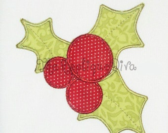 Christmas Holly Embroidery Design Machine Applique
