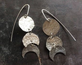 Vertical moon phase earrings