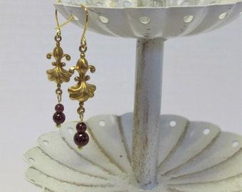 Genuine Garnet Drop Earrings, Gold-Plated Earwires, Civil War, Victorian Appropriate -- Affordable Elegance