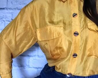 Vintage 100% Silk Yellow Shirt