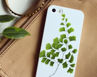 Green IPhone SE Case Fern Maidenhair Fronds IPhone 5 Case Resin Floral Bumper Case IPhone 5s Case Leaves Phone Case Iphone 8 Hipster