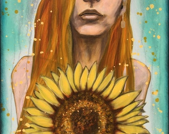 Vigilant Golden Sunflower Original Painting by artist Rafi Perez Mixed Medium and Gold Leaf on Canvas 18X24