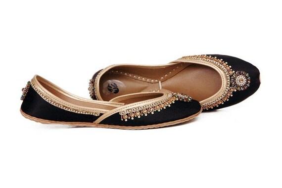 Black Mojari Shoes Black Flat Khussa Gold Ballet Black Black Embellished Jutis BzCO8xaq