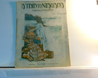 A Trip to Niagara March and Two Step - vintage sheet music by WM . Cornish   published by Will Wood 1904
