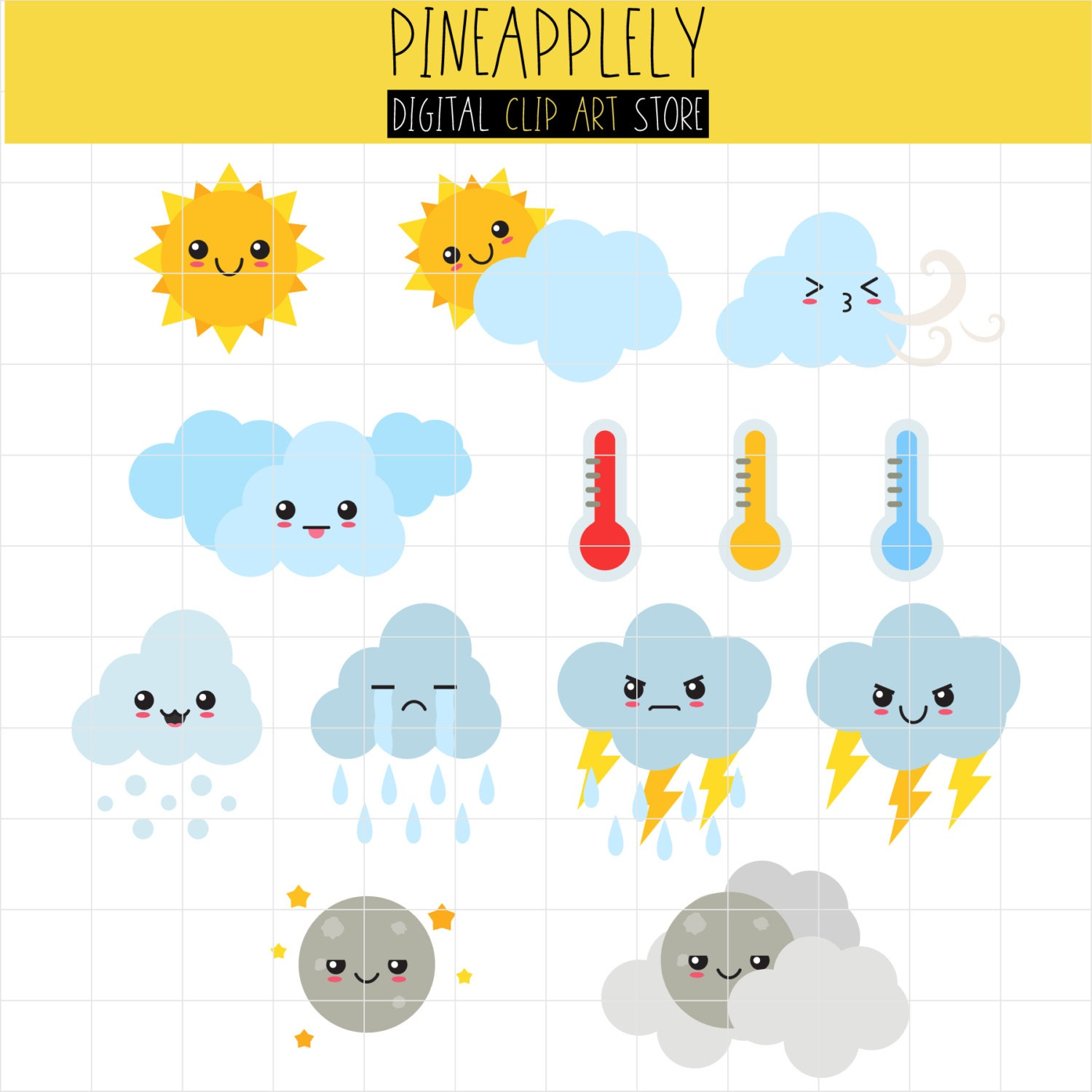cute weather elements weather forecast season cycle digital clip art for planner stickers scrapbooking journal art pieces rh etsy com weather forecast clipstone weather forecast clipart free