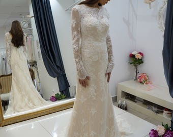 lace wedding dress with sleeve Delis , lace wedding dress  mermaid, Champagne wedding dress