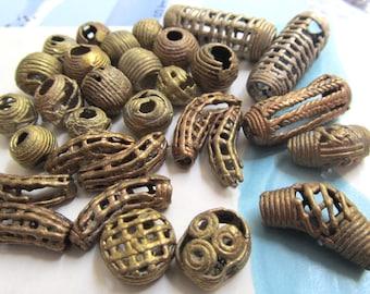 Akan Brass Beads, Baule Beads, African Trade, Elbow Lattice Bead, Ashanti Hollow Tube, Ghana Brass Coin Bead, Wide Opening, 15 Pcs