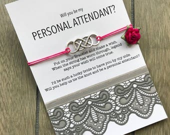 Will you be my personal attendant, Ask bridal party, Personal attendant, Personal attendant gift, Asking bridesmaids, Wish bracelet, B3