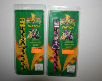 1993 Lot of 2 Vintage Power Ranger Watches Pink Black NEW Free Shipping
