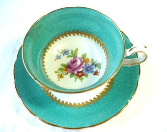 Tea Cup Gift For Daughter, Teal and Gold Floral, Tea Cup and Saucer, 8 Ounce Capacity, Tea Party Gift, Bridal Shower Favors