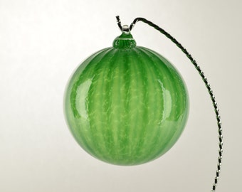 Hand Blown Glass Oranment Green w/stripes