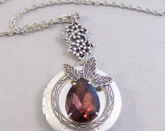 Woodland Fig, Garnet,Locket,Antique Locket,Silver Locket,Garnet Stone,Vintage Rhinestone,Vintage,Red Stone,Garnet Birthstone,Valleygirldesig