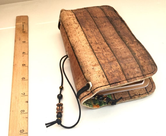 Rustic OOAK refillable cork notebook, feild notes size with cork fabric.  Inserts included!