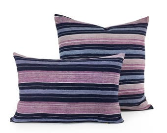 18 X 12 Indigo & Pink Raw Silk Striped Pillow Cover
