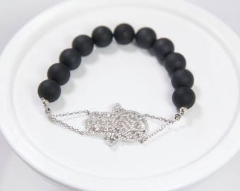 Sterling Silver Pave Hamsa Bracelet with Round Black Onyx Beads, Hand of Fatima bracelet