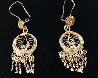 50%Off Mothers Day Sale Mini Circular Drop 1970's Oaxaca Filigree Earrings Chandelier 18K Gold Plated 055